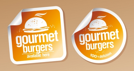 Gourmet burgers stickers set  Vector