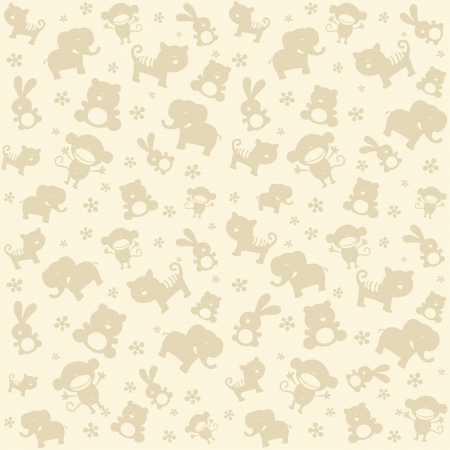 Child seamless pattern with cute animals  Vector
