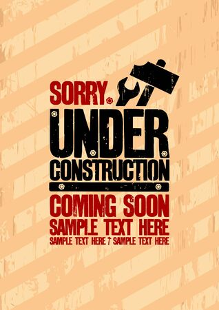 Under construction design template  Vector
