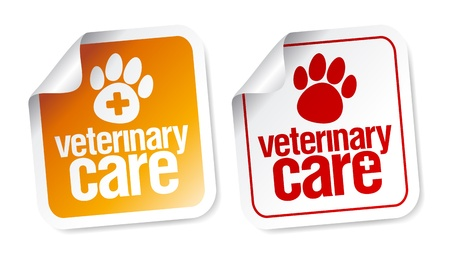 Veterinary care stickers set  Vector