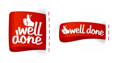 Well done labels with hand thumbs up symbol  Vector