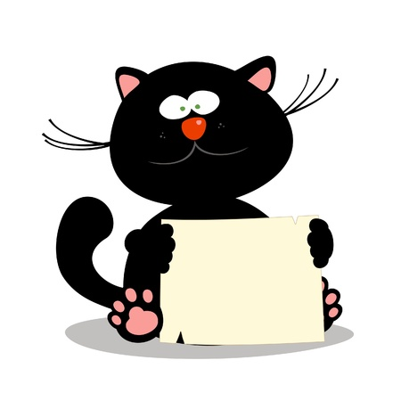 Cute little kitten with empty blank,  illustration. Vector