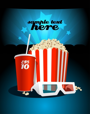 Popcorn box with cola and 3D glasses on the background screen cinema. Vector