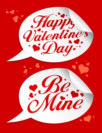 Happy Valentine`s Day stickers in form of speech bubbles. Vector