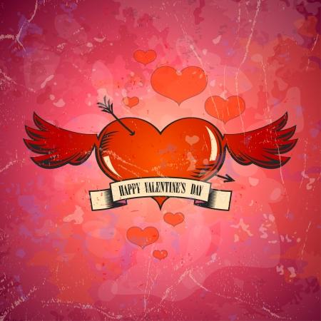 Retro scheda di San Valentino con il cuore e le ali