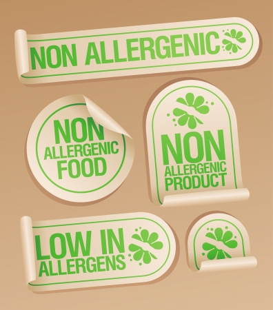 allergenic: Non allergenic products stickers set.