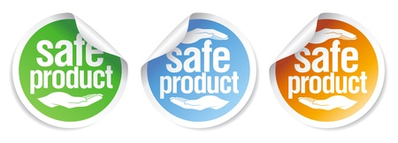 Safe product stickers set. Vector