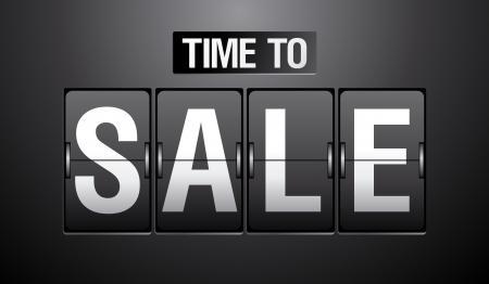 time off: Time to Sale analog flip clock. Illustration