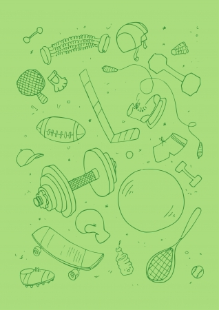 illustraition of sports accessories, hand drawn design set. Vector
