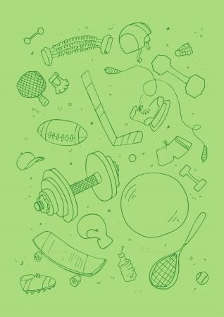 blinkers:  illustraition of sports accessories, hand drawn design set. Illustration