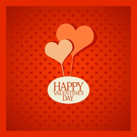 Retro Valentine card with hearts. Stock Vector - 16917159