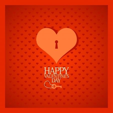 Retro Valentine card with heart. Vector