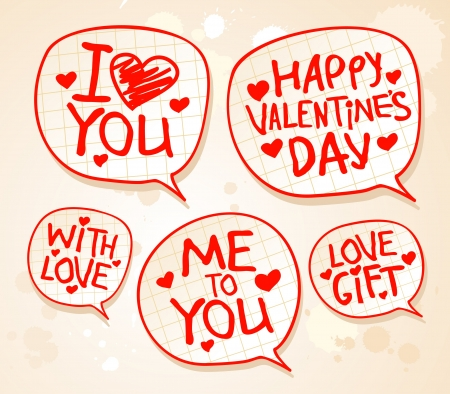 Happy Valentine`s day speech bubbles. Can be used as background or some icons Vector