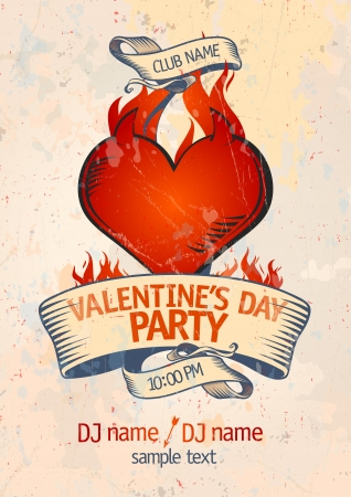 Valentine`s Day Party design template with burning heart.   Vector