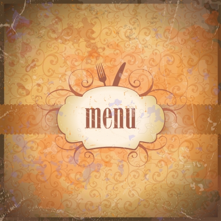 eating fast food: Retro restaurant menu card design template