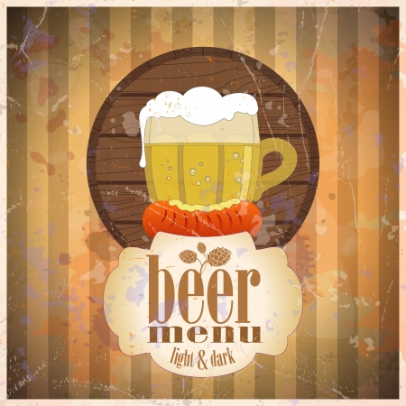 worsten: Bier menu ontwerp sjabloon, retro-stijl