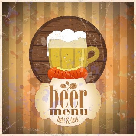 Men� Beer dise�o de la plantilla, estilo retro