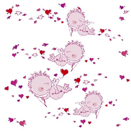 seamless background with cupids and hearts Stock Vector - 17198773