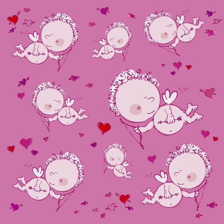 pink seamless background with cupids and hearts Stock Vector - 17198777