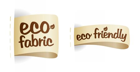 non: Eco friendly product fabric labels illustration.