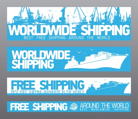 ship parcel: Worldwide free shipping banners collection. Illustration
