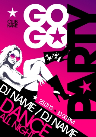 Go-go party design template with fashion girl and place for text. Vector