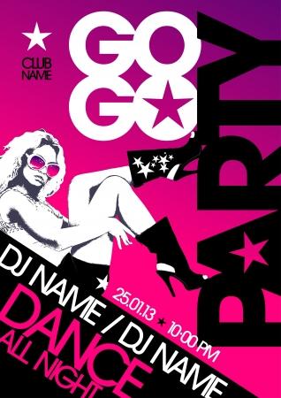 gogo girl: Go-go party design Vorlage mit der Mode Mädchen und Platz für Text.