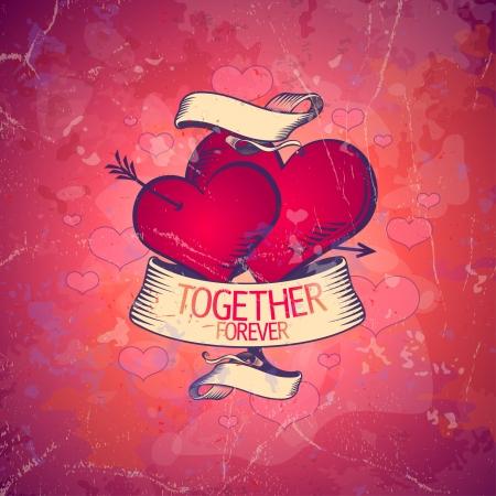 valentine card: Retro Valentine card with hearts. Eps10. Illustration