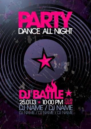 place for text: Dance All Night. Partido plantilla de dise�o con lugar para el texto.