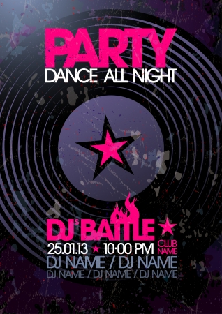music dj: Dance All Night. Party design template with place for text.