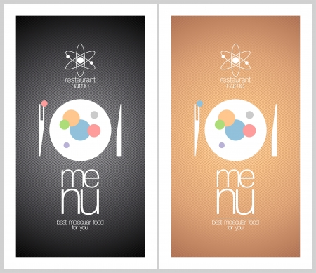 dl: Restaurant menu cards design templates for   molecular gastronomy. Illustration
