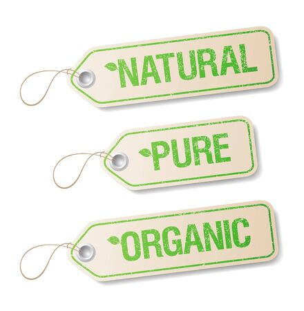 food poison: Natural, Pure, Organic labels collection.
