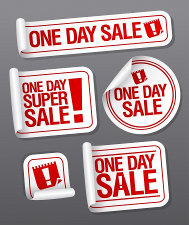 One Day Sale stickers set. Vector