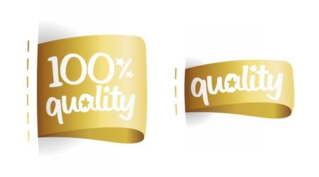 100 percent quality gold labels set. Stock Vector - 17198754