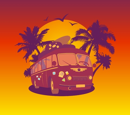 Fashion design template with retro bus and tropical view  Vector