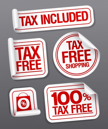 stock market return: Tax free shopping stickers set