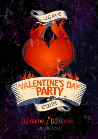 burning heart: Valentine s Day Party design template with burning heart  Eps10  Illustration