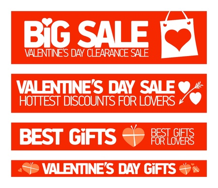 Valentine Sale Banners Vector
