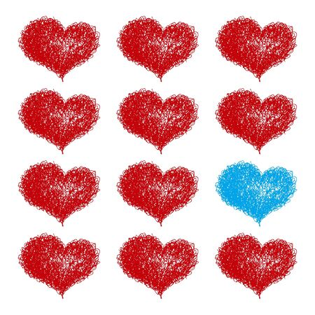 seamless background with coloured hearts Stock Vector - 17198786