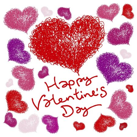 valentine s card with coloured hearts Vector