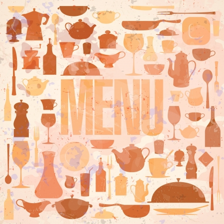 Retro restaurant menu card design template  Eps10  Vector