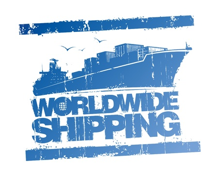 ship parcel: Worldwide shipping rubber stamp