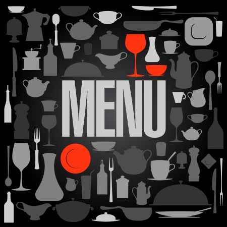 dinnerware: Retro restaurant menu with utensil card design template.  Illustration