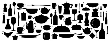 coffee pot: Collection of silhouette kitchen utensil tool. Illustration