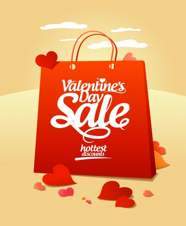 Valentine`s day sale design template. Vector