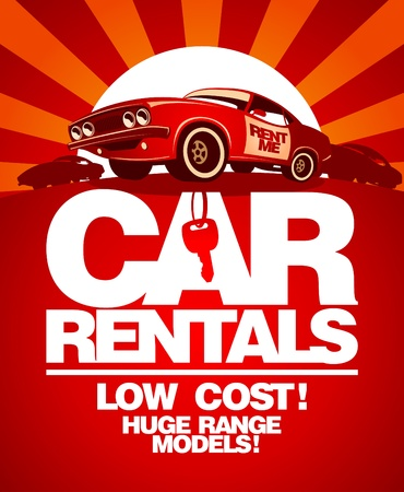 Car rentals design template with retro car. Vector