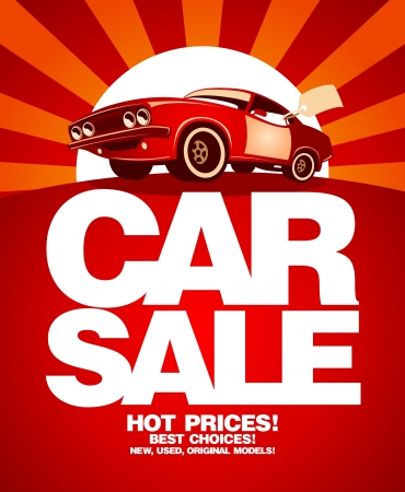 dealer: Car sale design template with retro car. Illustration