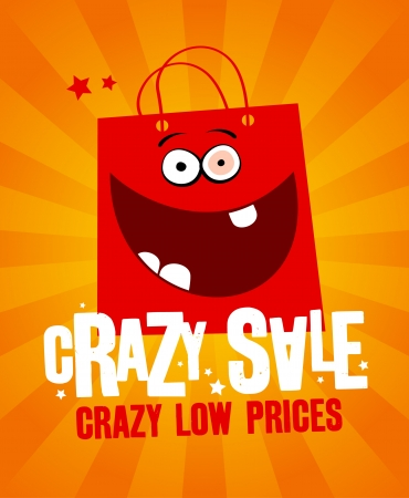 wholesale: Crazy sale design template, with fun red bag. Illustration