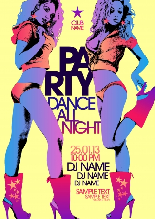 club flyer: Party design template with fashion girls and place for text