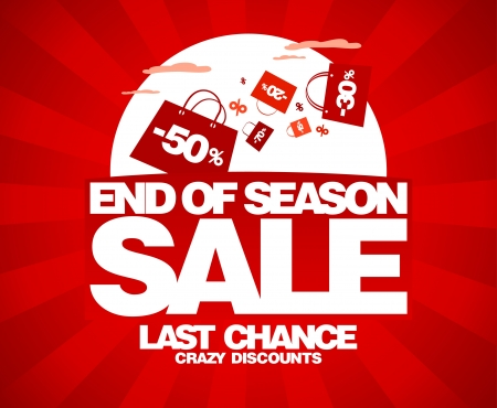 the end: End of season sale design template with shopping bags